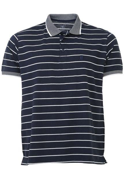 Camisa Polo Polo Wear Reta Listrada Azul-Marinho