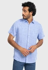 Camisa Lino Lisa Azul Arrow