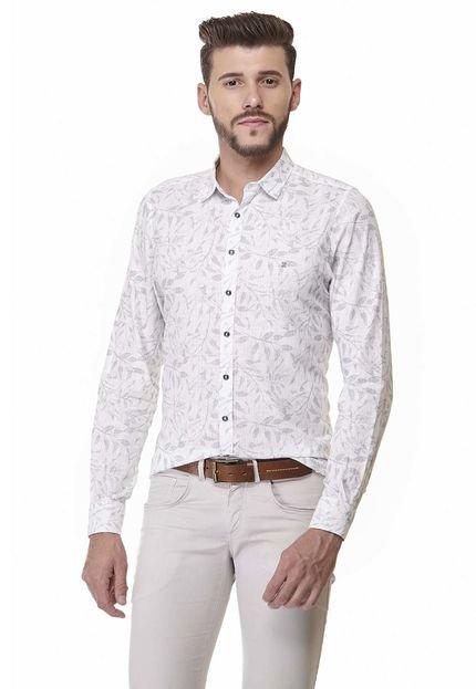 Camisa Slim Zaiko Estampada Manga Longa 2013 Branco