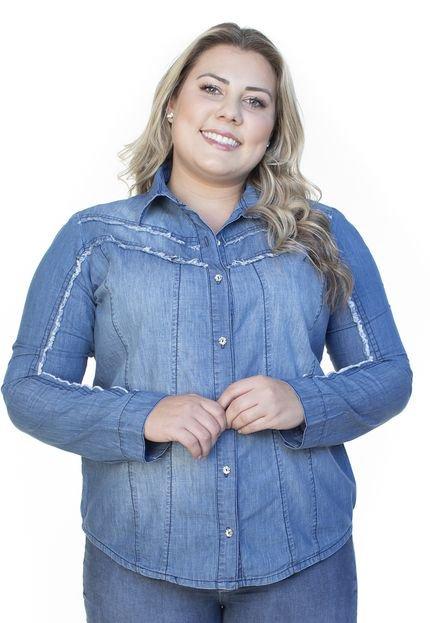 Ecolife Jeans Camisa Jeans Ecolife Plus Size Manga Longa Azul Claro 9WQwi