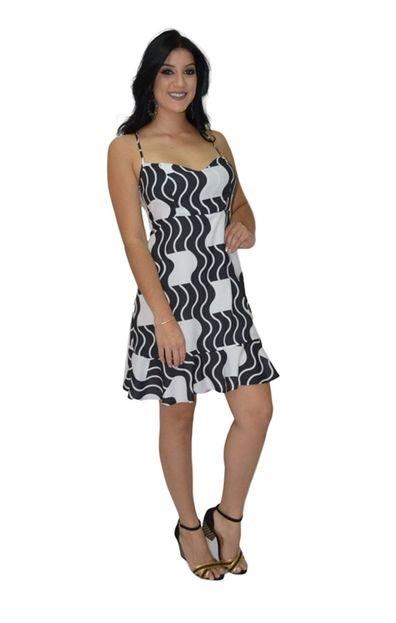 Energia Vestido Estampado Energia Fashion Preto e Branco A43vA