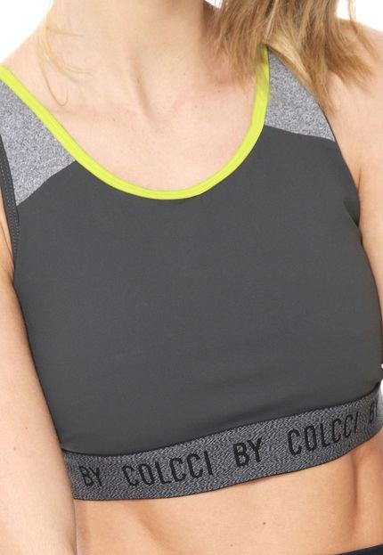 Colcci Fitness Top Colcci Fitness Lettering Neon Grafite