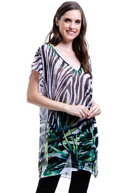 101 Resort Wear Blusa 101 Resort Wear Tunica Decote V Crepe Fendas Estampada Zebra Folhas Verde Branco DnOw9