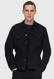 Chaqueta Only & Sons Come Life Trucker Negro - Calce Regular