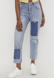 Jeans Parches Straight Azul Medio - Mujer Corona