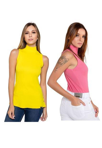 Latifundio 2 Blusas Feminina Latifundio Gola Alta - Cores Amarelo e Rosa NbjFA