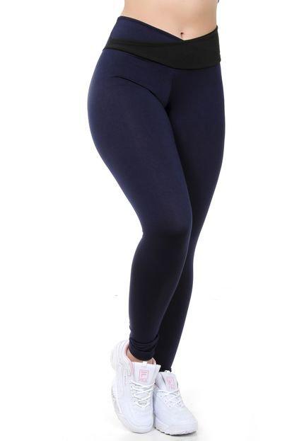 Calça Legging GALVIC Fitness Azul Com Cós Cruzado Preto - Marca GALVIC