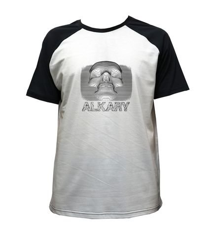 Camiseta Alkary Raglan Manga Curta Caveira 3D Branca e Preta
