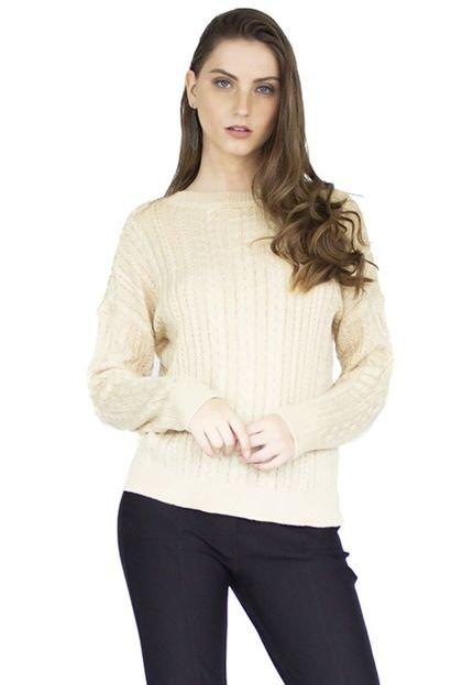 The Style Box Suéter de tricot the style box detalhe trançado - bege BKoaw