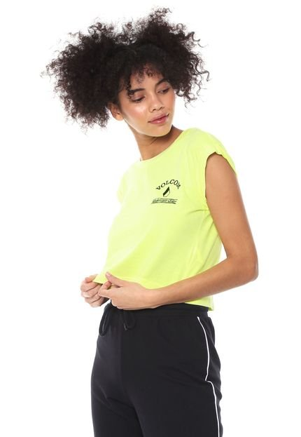 Volcom Camiseta Cropped Volcom And On Amarela 1wbHi