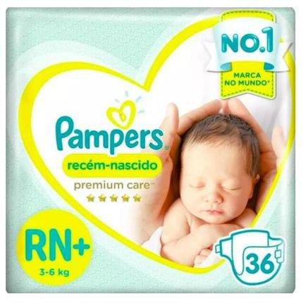 Fralda Pampers Premium Care Recém Nascido Plus com 36 unidades - 3 à 6 Kg Incolor