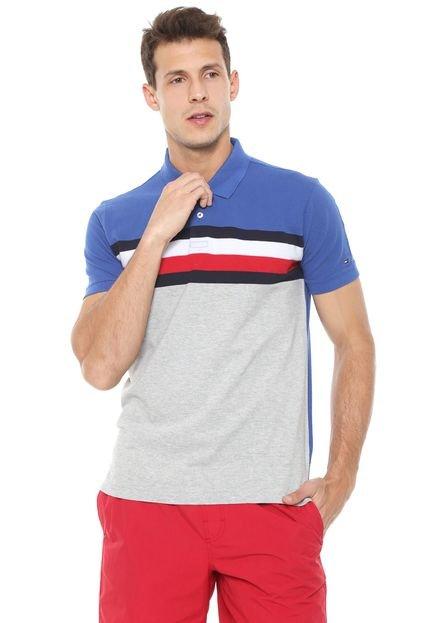 Menor preço em Camisa Polo Tommy Hilfiger Reta Listras Azul/Cinza