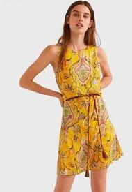 Vestido Desigual Amarillo - Calce Regular