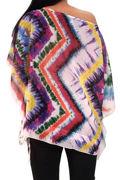 Blusa Poncho 101 Resort Wear Estampado Multicolorido
