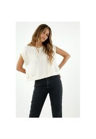 Camiseta De Mujer, Silueta Amplia, Cuello Redondo Manga Sisa, Color Crudo