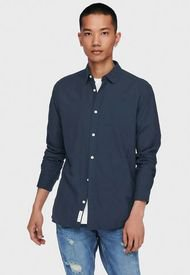 Camisa Only & Sons ONSKEON LIFE LS SOLID SHIRT Azul - Calce Regular