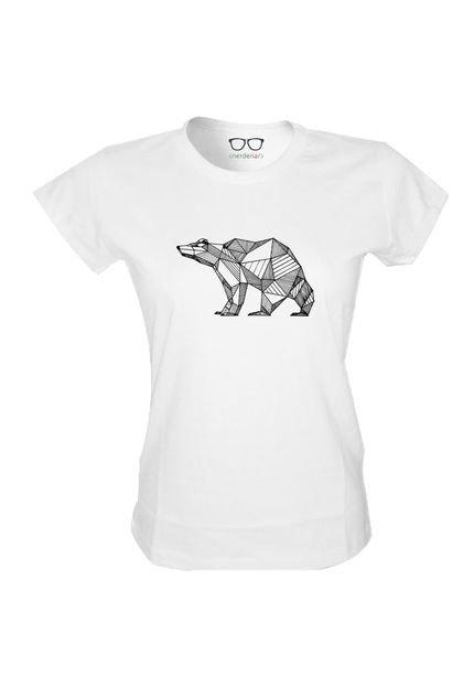 Nerderia Camiseta Baby Look Nerderia Urso Geometrico Branco FkSA3
