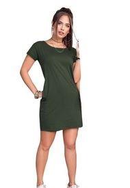 Vestido Corto Juvenil Femenino Verde Militar Atypical