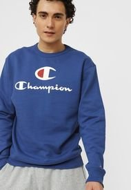 Polerón Champion Powerblend Graphic Crew Azul - Calce Regular