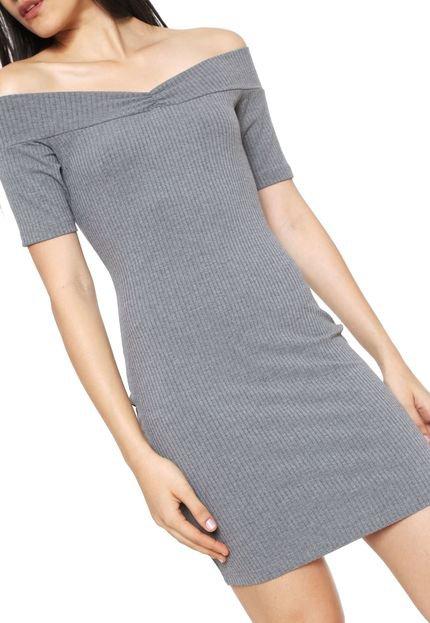 Triton Vestido Triton Curto Canelado Cinza