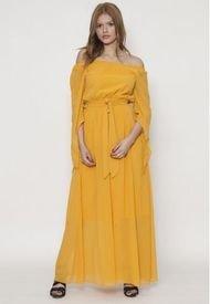 Vestido Largo Con Cinturon Amarillo 609Seisceronueve