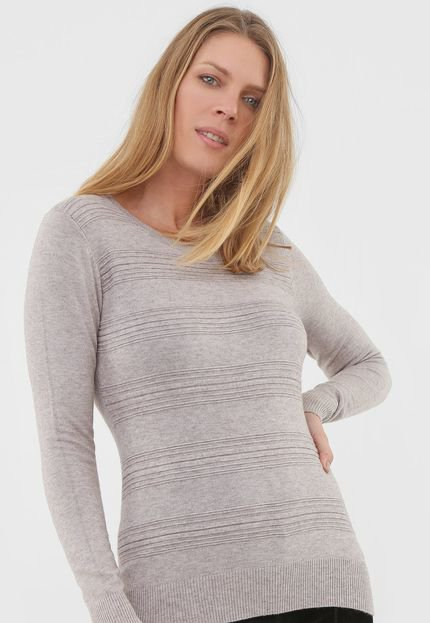 Facinelli by MOONCITY Blusa Facinelli by MOONCITY Tricot Textura Cinza SL7n6
