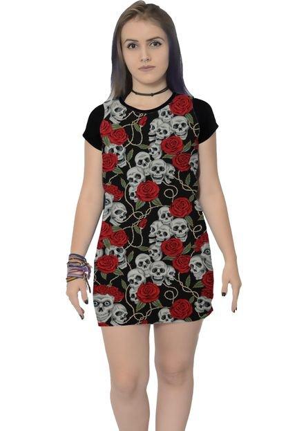 Ramavi Vestido Ramavi Skull Rosas Preto tF2tJ