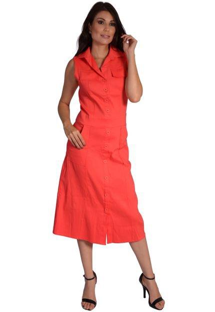 Pirony Vestido Blusa com Portinhola Saia com Bolsos e Pregas Salmão Ref. 116834-2 C9tyW