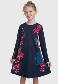 Vestido Desigual Niña Wildflower Azul - Calce Regular