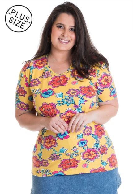 Konciny Blusa Feminina Plus Size Estampada 12520 Amarelo ueuyt