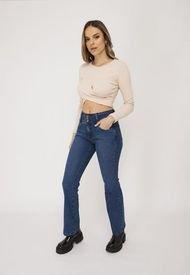 Jeans Recto Tres Botones Azul Efesis