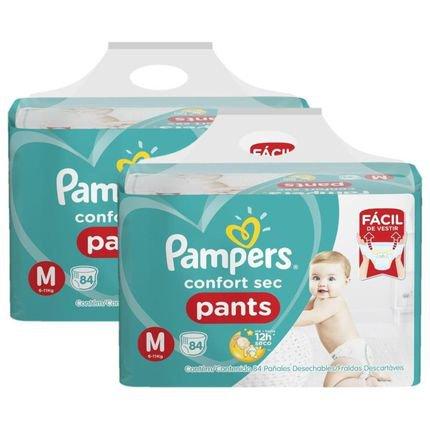Kit Fralda Pampers Confort Sec Pants Jumbo Tamanho M 168 Unidades Branca