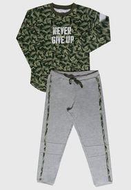 Pijama Palmers Niño Interlock Militar Multicolor - Calce Regular