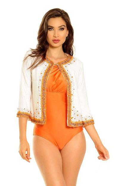 MOS Beachwear Casaquinho MOS Beachwear Ling Bordado Branco com Bordado Laranja wR4VB