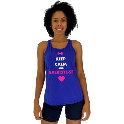 Alto Conceito Regata Feminina Alto Conceito Keep Calm And Exercite-se Azul Royal XM5Kb