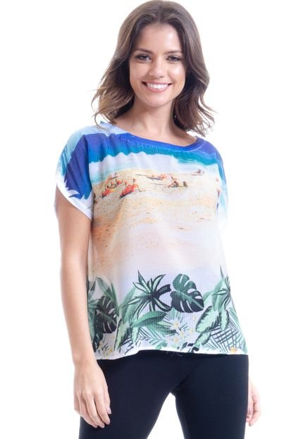 101 Resort Wear Blusa 101 Resort Wear Tunica Estampada  Cetin Ipanema Ha5t8