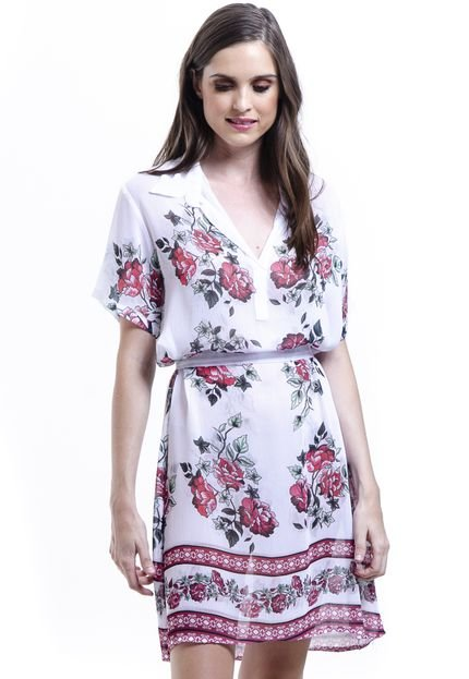 101 Resort Wear Vestido Chemise 101 Resort Wear Polo Estampado Floral Vermelho