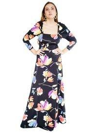 Vestido Anastasia Flores Colores Negro Natalia Seguel