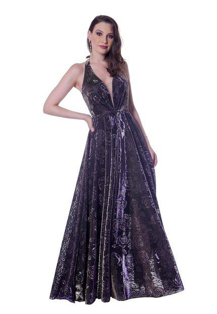 Gowara Vestido longo Gowara Lurex com estampa floral MRkBF