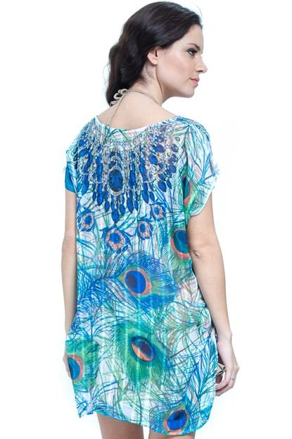 101 Resort Wear Blusa 101 Resort Wear Saida de Praia Tunica Crepe Estampada Decote V Pena Azul