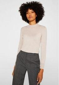 Sweater Con Cuello Alto De Canalé Rosa Pálido Esprit