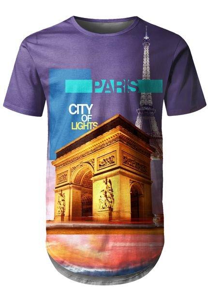Camiseta Longline Over Fame Paris Roxo