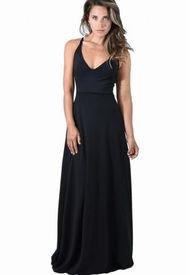 Vestido Largo Paris Negro Lycra Lazo Maria Paskaro