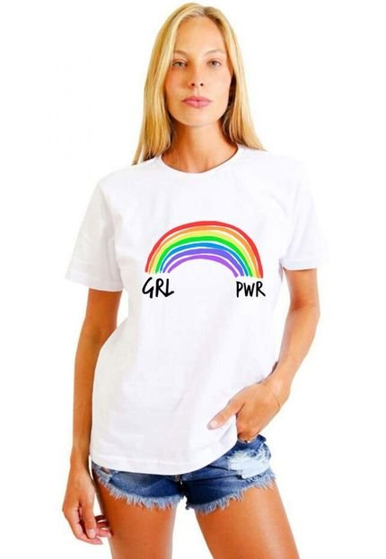 Joss Camiseta Basica Joss Girl Power Branca fer6v