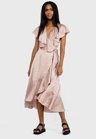 Vestido MISSGUIDED Ruffle Front Wrap Midi Tea Dress Polka Dresses  Rosa - Calce Regular