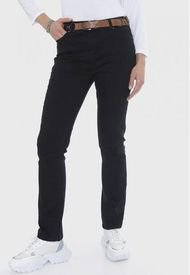 Jeans Recto Push Up Con Cinturón Negro Lorenzo Di Pontti