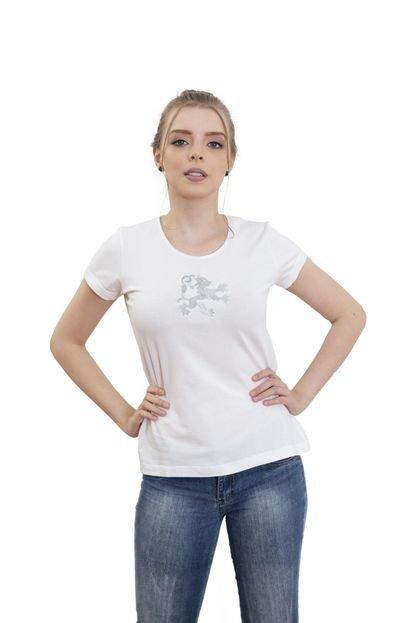 4 Ás Camiseta Branca Manga Curta Dragão Prata 4ás WT9DS