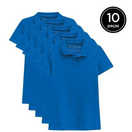 Basicamente. Kit Basicamente. 10 Camisas Polo Azul Schmg