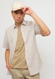 Camisa Only & Sons ONSCAIDEN SS SOLID LINEN SHIRT Gris - Calce Regular