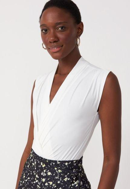 AMARO Body AMARO Jersey Detalhe Franzido Essential Off-White nvU5W